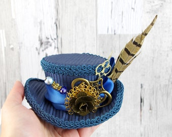 Blue and Brown Steampunk Mini Victorian Riding Hat Fascinator, Marie Antoinette, Alice in Wonderland Mad Hatter Tea Party, Derby Hat