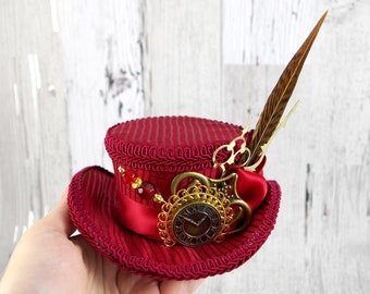 Dark Red and Brown Steampunk Mini Victorian Riding Hat Fascinator, Marie Antoinette, Alice in Wonderland Mad Hatter Tea Party, Derby Hat
