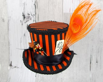 Orange and Black Striped Hatter Flared Medium Mini Top Hat Fascinator, Alice in Wonderland, Mad Hatter Tea Party, Derby Hat, Halloween Hat