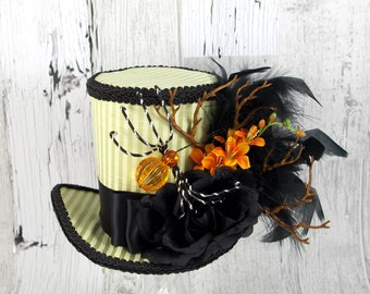 Green, Orange and Black Striped Spider Halloween Large Mini Top Hat Fascinator, Alice in Wonderland, Mad Hatter Tea Party, Derby Hat