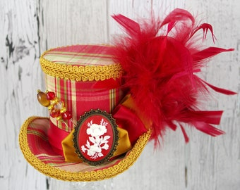 Red and Gold Plaid Flower Cameo Medium Mini Top Hat Fascinator, Alice in Wonderland, Mad Hatter Tea Party, Derby Hat