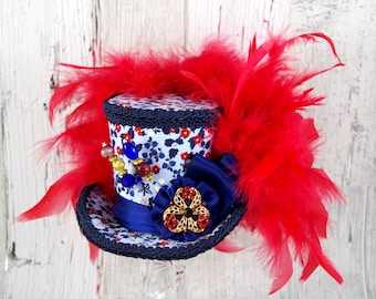 Red, White, and Blue Floral Rosette Medallion Medium Mini Top Hat Fascinator, Alice in Wonderland, Mad Hatter Tea Party, Derby Hat