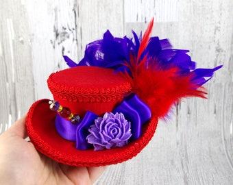 Red and Purple Resin Flower Mini Victorian Riding Hat Fascinator, Marie Antoinette, Alice in Wonderland Mad Hatter Tea Party, Derby Hat