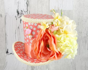 Coral, Cream, and Gray Polka Dot Flower Garden Large Mini Top Hat Fascinator, Alice in Wonderland, Mad Hatter Tea Party, Derby Hat