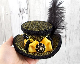 Gold and Black Damask Mini Victorian Riding Hat Fascinator, Marie Antoinette, Alice in Wonderland Mad Hatter Tea Party, Derby Hat
