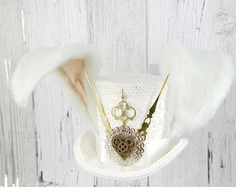 White Rabbit - White and Ivory Steampunk Medium Mini Top Hat Fascinator, Alice in Wonderland, Mad Hatter Tea Party, Derby