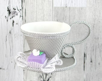 Silver Striped and White and Silver with Petit Four Tea Cup Fascinator Hat, Alice in Wonderland Mad Hatter Tea Party, Derby Hat