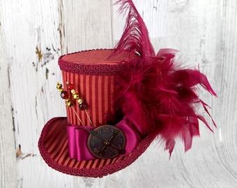 Burgundy Red Steampunk Empress Collection Large Mini Top Hat Fascinator, Alice in Wonderland, Mad Hatter Tea Party, Derby Hat
