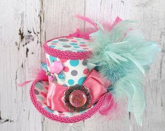 Pink White and Teal Polka Dot Medium Mini Top Hat Fascinator, Alice in Wonderland, Mad Hatter Tea Party, Derby Hat