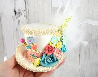 Ivory, Pink, Blue, and Yellow Paper Flower Small Mini Top Hat Fascinator, Alice in Wonderland, Mad Hatter Tea Party, Derby Hat