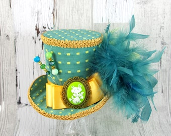 Teal, Lime Green, and Gold Cameo Large Mini Top Hat Fascinator, Alice in Wonderland, Mad Hatter Tea Party, Derby Hat