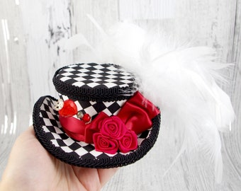 Queen of Heats - Black, Red and White Harlequin Rose Mini Victorian Riding Hat Fascinator,  Alice in Wonderland, Mad Hatter Tea Party