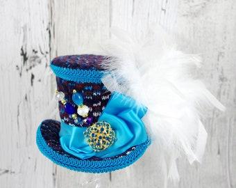 Aqua and Navy Medium Mini Top Hat Fascinator, Alice in Wonderland, Mad Hatter Tea Party, Derby Hat