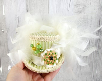 Light Green and Cream Striped Rosette Small Mini Top Hat Fascinator, Alice in Wonderland, Mad Hatter Tea Party, Derby Hat