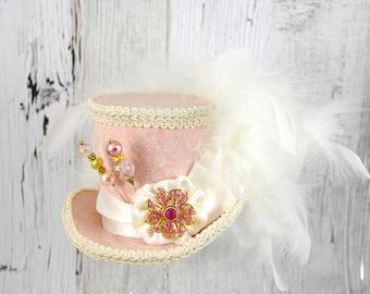 Peach and Cream Rosette Medallion Medium Mini Top Hat Fascinator, Alice in Wonderland, Mad Hatter Tea Party, Derby Hat