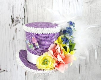 Purple and White Multicolor Flower Garden Floral Medium Mini Top Hat Fascinator, Alice in Wonderland, Mad Hatter Tea Party, Derby Hat