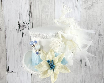 White and Blue Reindeer and Poinsettia Medium Mini Top Hat Fascinator, Alice in Wonderland, Mad Hatter Tea Party, Derby Hat