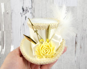 Ivory, Cream, and Gold Clock Hands Steampunk Small Mini Top Hat Fascinator, Alice in Wonderland, Mad Hatter Tea Party, Derby