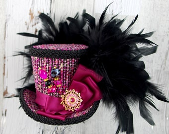 Fuchsia and Black Medium Mini Top Hat Fascinator, Alice in Wonderland, Mad Hatter Tea Party, Derby Hat
