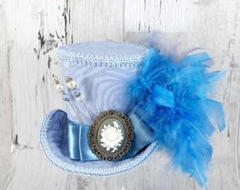 Pale Blue on Blue with Grey Rose Cameo Empress Collection Large Mini Top Hat Fascinator, Alice in Wonderland Mad Hatter Tea Party, Derby Hat
