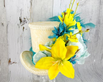 Teal and Yellow Lily Flower Garden Large Mini Top Hat Fascinator, Alice in Wonderland, Mad Hatter Tea Party, Derby Hat