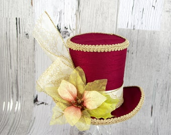 Burgundy and Gold Poinsettia Large Mini Top Hat Fascinator, Alice in Wonderland, Mad Hatter Tea Party HatDerby Hat, Christmas, Holiday