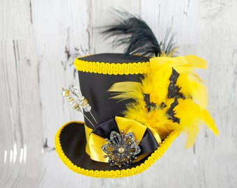 Black and Yellow Bat Hat Mini Top Hat Fascinator, Alice in Wonderland, Mad Hatter Tea Party, Derby Hat