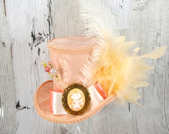 Peach and Cream Flower Cameo Empress Collection Large Mini Top Hat Fascinator, Alice in Wonderland, Mad Hatter Tea Party, Derby Hat
