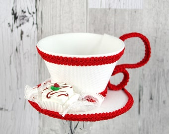 Red and White with Petit Four Christmas Tea Cup Fascinator Hat, Alice in Wonderland Mad Hatter Tea Party, Derby Hat