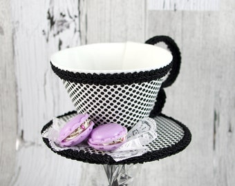 Black and White Polka Dotwith Macarons Tea Cup Fascinator Hat, Alice in Wonderland Mad Hatter Tea Party, Derby Hat