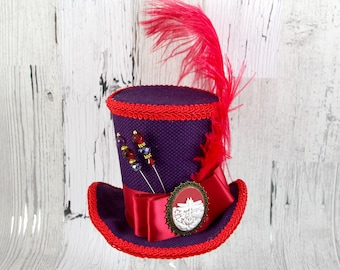 Purple and Red Dragonfly Cameo Empress Collection Large Mini Top Hat Fascinator, Alice in Wonderland, Mad Hatter Tea Party, Derby Hat