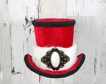 Red, White, and Black Fur and Buckle Christmas Large Mini Top Hat Fascinator, Alice in Wonderland Mad Hatter Tea Party, Derby Hat