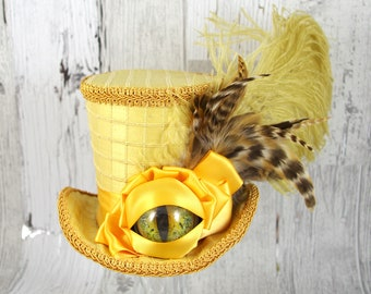 Dragon Eye Gold on Gold Large Mini Top Hat Fascinator, Alice in Wonderland, Mad Hatter Tea Party, Derby Hat, Dinosaur Hat, Eye Hat
