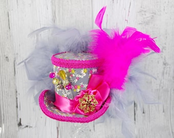 Pink, Yellow, and Gray Rosette Medallion Medium Mini Top Hat Fascinator, Alice in Wonderland, Mad Hatter Tea Party, Derby Hat