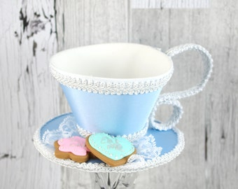 Light Blue and White with Mint and Pink Cookies Tea Cup Fascinator Hat, Alice in Wonderland Mad Hatter Tea Party, Derby Hat