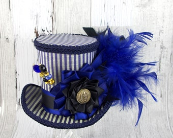 Navy Blue and Black Striped Cockade Steampunk Large Mini Top Hat Fascinator, Alice in Wonderland, Mad Hatter Tea Party, Derby Hat
