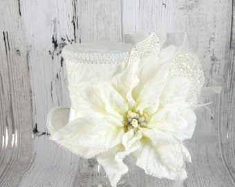 White on White Oversized Poinsettia Holiday Christmas Large Mini Top Hat Fascinator, Alice in Wonderland, Mad Hatter Tea Party, Derby Hat