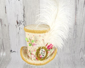 Cream, Gold, and Pink Birdcage Medallion and Plume Large Mini Top Hat Fascinator, Alice in Wonderland, Mad Hatter Tea Party, Derby Hat