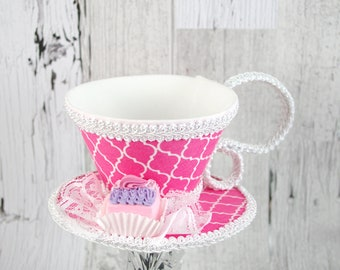 Pink and White Quatrefoil with Pink and Purple Petit Four Tea Cup Fascinator Hat, Alice in Wonderland Mad Hatter Tea Party, Derby Hat