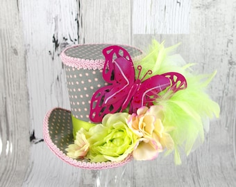 Pink, Gray, and Green Polka Dot Butterfly Large Mini Top Hat Fascinator, Alice in Wonderland, Mad Hatter Tea Party, Derby Hat