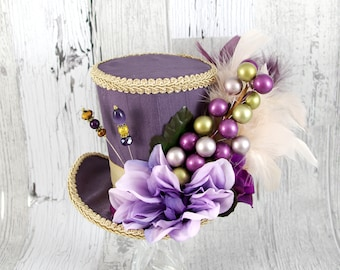 Purple and Toffee Flower and Berry Large Mini Top Hat Fascinator, Alice in Wonderland, Mad Hatter Tea Party Hat, Bridal, Derby Hat
