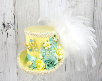 Yellow and Pale Teal Mint Flower Medium Mini Top Hat Fascinator, Alice in Wonderland, Mad Hatter Tea Party, Derby Hat