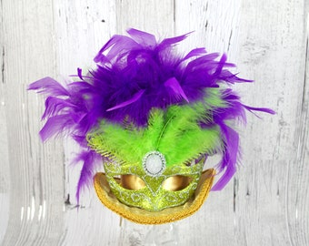 Mardi Gras Carnival Gold. Purple, and Green Mask Large Mini Top Hat Fascinator, Alice in Wonderland, Mad Hatter Tea Party, Derby Hat