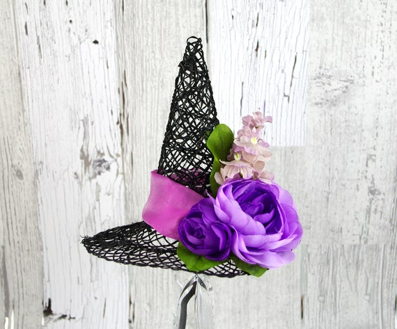 Black and Lavender Purple Flowers Mini Woven Witch Hat  13acbd889e4