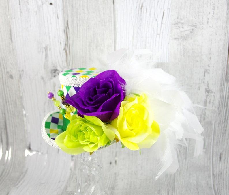 7b31da10252 Mardi Gras Roses White Purple Yellow and Green Harlequin