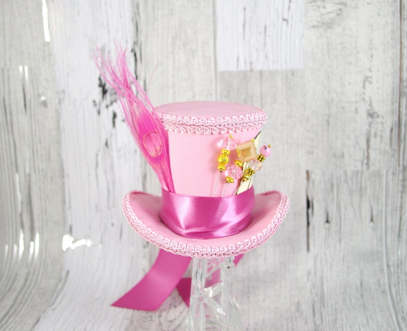 c89bea17f3a Light Pink and Rose Pink Mad Hatter Style Medium Mini Top Hat