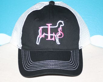 b6853ef4 Monogram Baseball Hat - Show Sheep Monogrammed Cap - Embroidered Livestock  Lamb Shower Ball Cap - Personalized Embroidered Sheep Hat