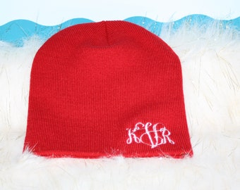 ef7a737e58b Monogrammed Beanie Cap - Personalized Winter Hat - Embroidered Monogram -  Stocking Cap - Gift - Beanie Cap