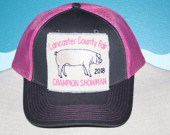 a349b2f7 Livestock Show Award - Livestock Award Trucker Cap Embroidered - Custom  Design Baseball Hat - Pig Farm Embroidered Ball Cap - Mesh Back Cap