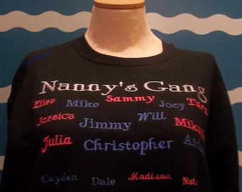 Custom Embroidery grandparent - Nanny's Gang crew sweatshirt - Embroidered Grandkids Names Sweatshirt - Plus Size Shirt - Grandmother Gift